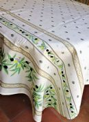Olive Blossom Tablecloth Rectangular Coated 300cm Cream